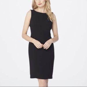 Tahari classic black sheath dress career
